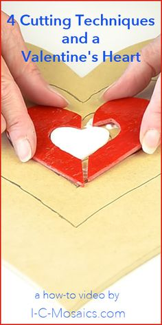 Here are 4 Cutting Techniques and a Valentine's Heart - Beginner to advanced cutting techniques in one project. This Valentine's Heart goes from simple triangles to stained glass inlaid in stained glass.
