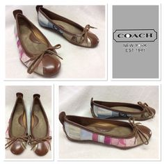 Coach  Jenilee Flats  Size 6M Very used and preloved Coach Jenilee flats. Features patchwork pattern with links and blues, mixed with silver and gold leather trimmed in brown leather. This pair is very worn, but still has much life left. There is discoloration to leather trim around right heel where heel guard was removed. Super cute and in need of a new home. Coach Shoes Flats & Loafers