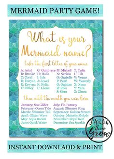 "This pretty watercolor and gold mermaid party poster is fun game for a mermaid birthday party! Get ready to discover your mermaid name, and a beautiful name for each guest! Printable 8x10"" party sign."