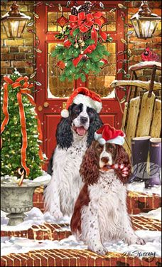 "Springer Spaniel Christmas Holiday Cards are 8 1/2"" x 5 1/2"" and come in packages of 12 cards. One design per package. All designs include envelopes, your personal message, and choice of greeting. Select the greeting of your choice from the drop-down menu above. Add your personal message to the Comments box during checkout."