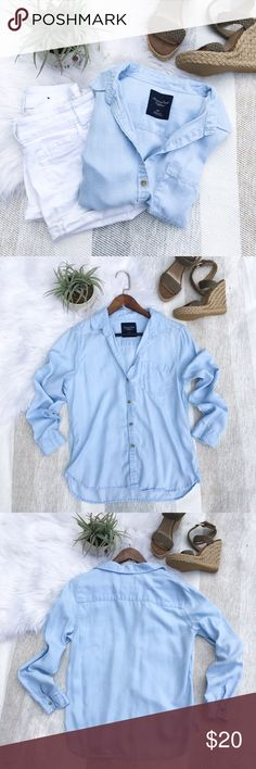 •AEO Blue Button Down Shirt• AEO || Light blue long sleeve button down shirt. Features one front chest pocket. Light material, can be worn with jeans or shorts. Gently worn.   {great used condition}  {model photos found via Pinterest, shown for styling purposes & is not the actual shirt}  •no trades(comments politely ignored) •bundle to save American Eagle Outfitters Tops Button Down Shirts