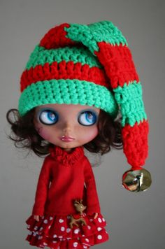 Cute Santa Elf Christmas Hat for Blythe  Crochet  Red by elifins, $15.00
