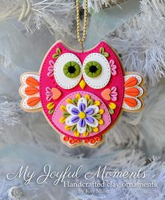 Handcrafted Polymer Clay Owl Ornament by Kay Miller on Etsy $15