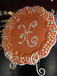 Dotty Initial Platter by The Pottery Stop Gallery