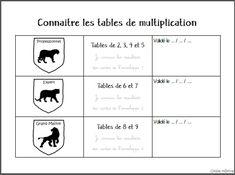 Tables de multiplication - Enveloppes et blasons Tables, Writing, Montessori, Times Table Chart, Envelopes, Coat Of Arms, Learning, Arts Plastiques, Mesas