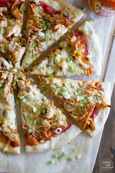 Spice up your pizza night with this Buffalo Chicken Pizza that has buffalo sauced chicken, Monterey Jack cheese and blue cheese.: