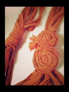 Recycled t-shirt scarf with roses. Awesome.