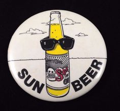 Sol Beer Pinback Button Sun Beer Sunglass Bottle Mexican Collectible 2.5 Inch