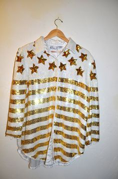 20 off SALE SWEETLIFE Vintage Sequined White Jacket with Gold Stars and Stripes by AmoreDolce, $40.00