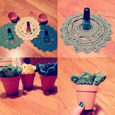 Flower Pot Medium Hipster Crochet Doily Planter by simpleasdust, $14.00