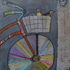 Julie Beyer. Idea- use a CD for the front wheel and collage the bike parts. could work.