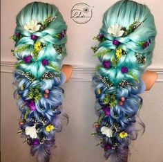 long wedding flower embellished decorated woven blue green lavender blonde braided hair