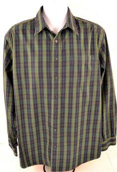 Gap Men's Size XL Long Sleeve 100% Cotton Green Plaid Shirt #Gap #ButtonFront