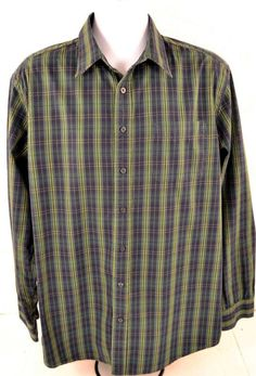Gap Men's Size XL Long Sleeve 100% Cotton Green Plaid Shirt #Gap #ButtonFront