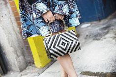 NYFW Street Style Spring 2016 - Piera Gelardi's floral dress and geometric handbag   allure.com