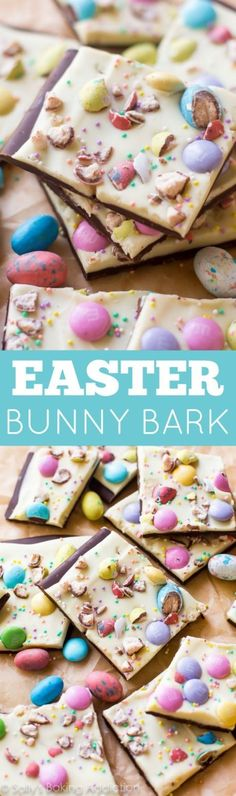 2 ingredients plus your favorite Easter candy! Adorably festive chocolate on chocolate!