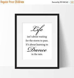 ON SALE Inspirational Quote Print Life Isn't by MasellaDesigns