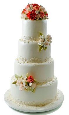 bolo de casamento branco com rosas vermelhas - Pesquisa Google