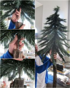 Learn how to make Christmas decorations from an old fake Xmas tree. Outdoor Christmas garland, swag and an alpine tree - DIY Christmas decor at its finest! Outdoor Christmas Tree Decorations, Outdoor Garland, Christmas Tree Garland, Diy Christmas Tree, Alpine Christmas Tree, Alpine Tree, Country Christmas, Homemade Christmas, Christmas Christmas
