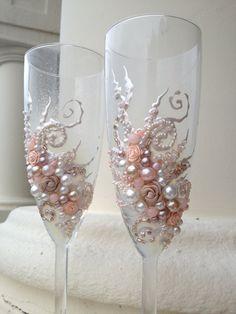 Beautiful wedding champagne glasses in blush pink by PureBeautyArt