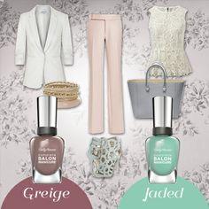 En tus outfits formales de primavera no pueden faltar las texturas como encajes y los colores pastel. ¿Lo combinarías con Greige o Jaded de Complete Salon Manicure?