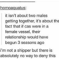 If they had casted a female to play Castiel we would have Destiel in season honestly ifs not even funny anymore. Dean And Castiel, Supernatural Destiel, Supernatural Merchandise, Supernatural Pictures, Destiel Fanart, Fandoms, Impala 67, Nos4a2, Supernatural