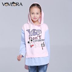 ee81ca650b Girls T shirts Hooded Cartoon Long Sleeve Kids T shirt Letter Knitted  Cotton Children Clothes New Fashion Size 7 8 9 10 11 12 Y