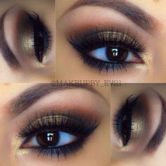 Bronze eyeshadow with winged liner