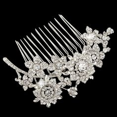 Bridal Bridesmaid Art Deco Flower Leaf Hair Comb Clear Rhinestone Crystal
