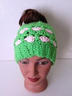 Valentine Messy Bun Hat Green and Pink Bun by TissysTreasures