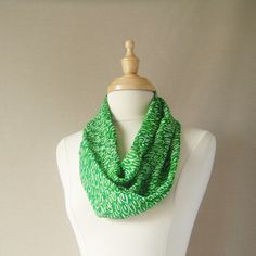 "Infinity Scarf Kelly Green and White Pattern Infinity Scarf 62"" inches Round Mother's Day"