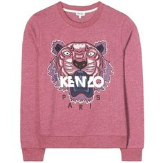 Kenzo Embroidered Cotton Sweater (6.285 UYU) ❤ liked on Polyvore featuring tops, sweaters, pulls, purple, sweatshirts, red top, kenzo, red embroidered top, kenzo top and purple top