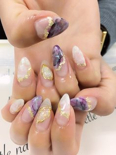 Nails almond glitter purple 54 New ideas Polygel Nails, Glue On Nails, Hair And Nails, Summer Acrylic Nails, Cute Acrylic Nails, Cute Nails, Dimond Nails, Gorgeous Nails, Amazing Nails