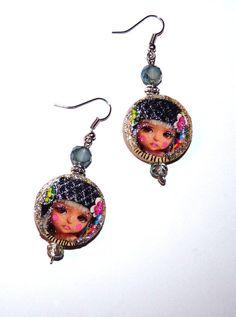 Doll Boucles d'oreilles Poupée rondes Bohème-Bijou poupée doll boucles d'oreilles femme cristal multicolore matriochka Bijou kokeshi