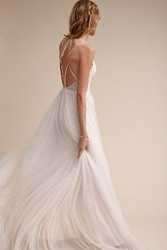 Rosalind Gown - BHLDN $1150 Camisole straps, lace top and tulle skirt. Wear with a sash. ***