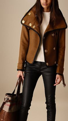 Leather Trim Blanket Wrap Jacket | Burberry