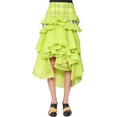 Facetasm Women Ruffled Nylon & Linen Skirt ($2,960) ❤ liked on Polyvore featuring skirts, lime green, panel skirt, yellow skirt, plaid skirt, frilly skirt and frill skirt