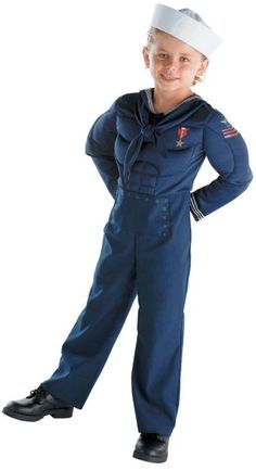 NEW BOYS COSTUME TODDLER MILTARY SAILOR NAVY MUSCLE SUIT BLUE XS 3T-4T NO HAT