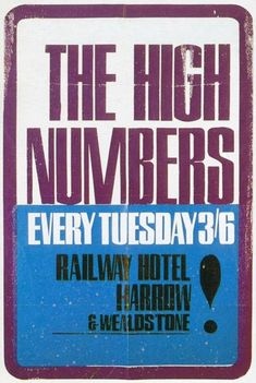 The Who/The High Numbers John Entwistle, Roger Daltrey, London Clubs, British Rock, Northern Soul, Soul Music, Rock N Roll, Screen Printing, Numbers