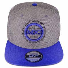 Boné Aba Reta 6 Gomos em poliéster, cinza com a aba azul, modelo Snapback marca MXC original, aba 8 costuras.
