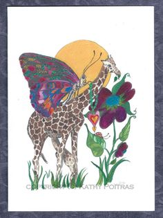 Mom and Baby Giraffe and Butterfly hand made by KathyPoitrasArt