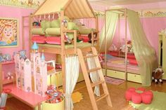 I love the cubby house and storage ideas. It makes everything look so tidy and perfect for a little girl :)