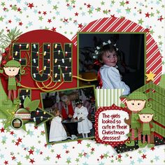 Ashlyn was so sweet in her little Christmas dress and wreath on her head!  She looked adorable!  I used the new Monthly mix kit called Santa's Helper from the Gingerscraps designers found here:  http://store.gingerscraps.net/Monthly-Mix-Santas-Helper.html  and a template from Connie Princes' Game Time found here:  http://store.gingerscraps.net/Game-Time-12x12-Templates-CU-Ok.html