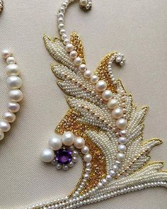 Pearl embroidery is a beautiful form of decorative needlework. The pearls are normally pierced. It was a popular technique in the European medieval and renaissance periods for the embellishment of elite and religious garments.