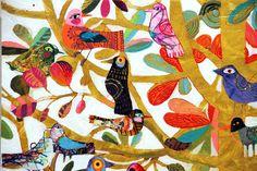 "#skiphillart   Love Birds / Pássaros do Amor (por Sempre) 2015 Mixed-media collage on primed wood panel. Size: 48""h x 48""."