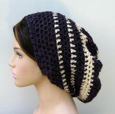 Dark purple cream Hemp Wool Tam Hat Dreadlock Hippie slouchy beanie. $23.00, via Etsy.