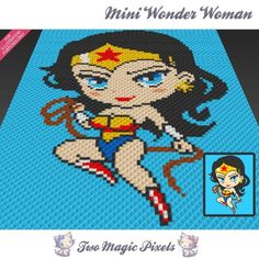 Mini Wonder Woman inspired crochet blanket by TwoMagicPixels Crochet Afghans, Crochet C2c, Graph Crochet, Pixel Crochet, Manta Crochet, Crochet Blanket Patterns, Crochet Baby, Cross Stitch Patterns, Knitting Patterns