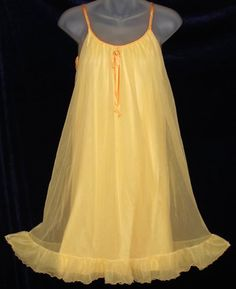 French Maid Tangerine Orange Chiffon Nightgown at Classy Option - Vintage Ruffled Nightgown Pretty Lingerie, Sheer Lingerie, Vintage Lingerie, Beautiful Lingerie, Vintage Outfits, Vintage Fashion, Cute Nightgowns, Vintage Mode, Vintage Style