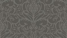 Palmiro (33863) - Albany Wallpapers - Heavy weight Italian vinyl with heraldic scrolls and flourishes in a pretty symmetrical design, with a raised texture on a linen effect background. Shown in the silver grey on a rich mid grey with a metallic sheen. Please ask for sample for true colour ma
