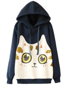 Sheinside Navy Hooded Long Sleeve Cat Print Sweatshirt